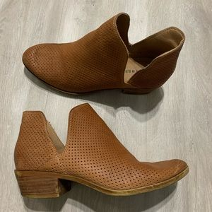Lucky Brand Brown Chestnut Real Leather Booties